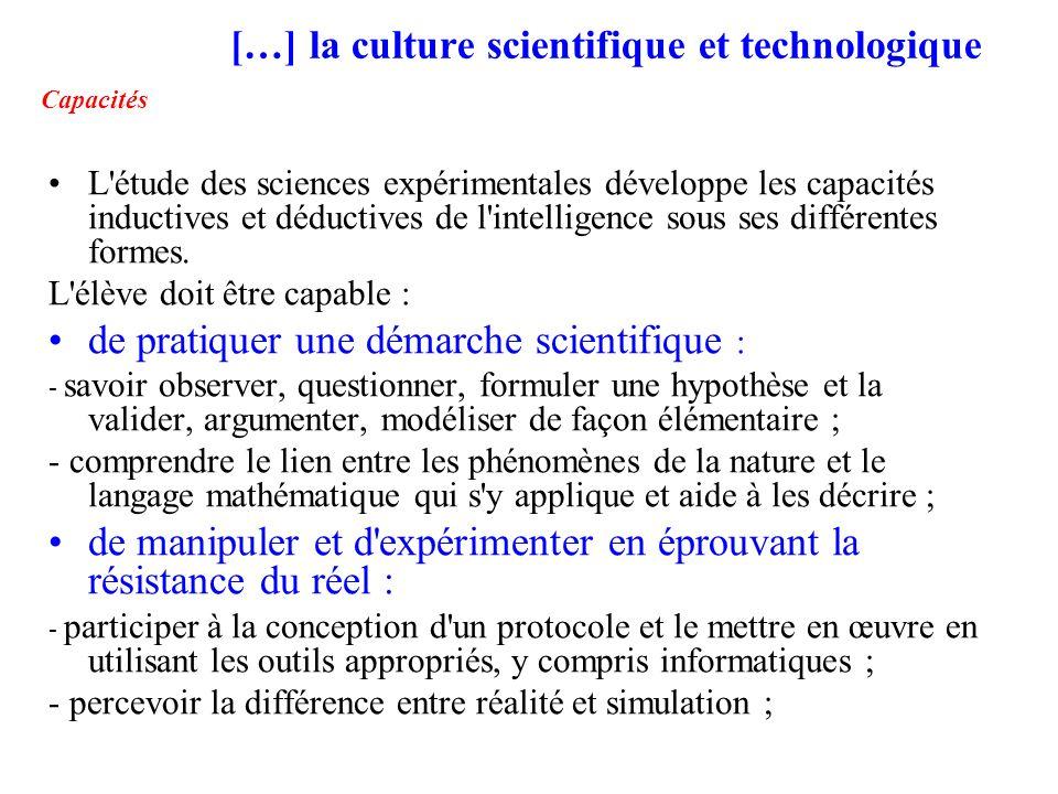 […] la culture scientifique et technologique Capacités
